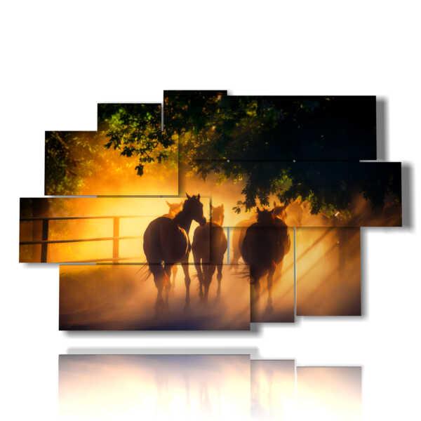 quadri antichi con cavalli verso il tramonto