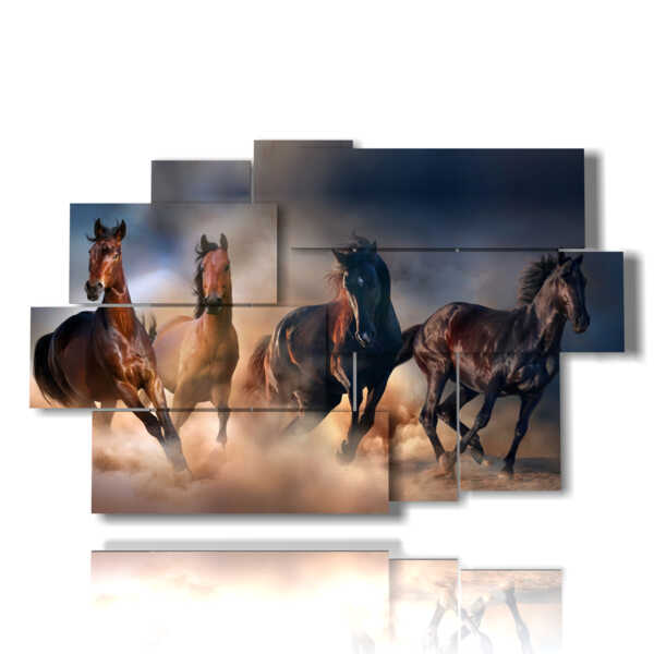 painting horses galloping in the sand