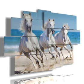 painting white horses on the beach