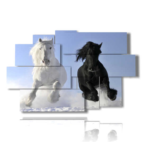 tableaux avec deux chevaux en noir et blanc