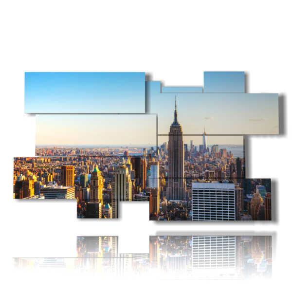 tableaux de New York dans son toit