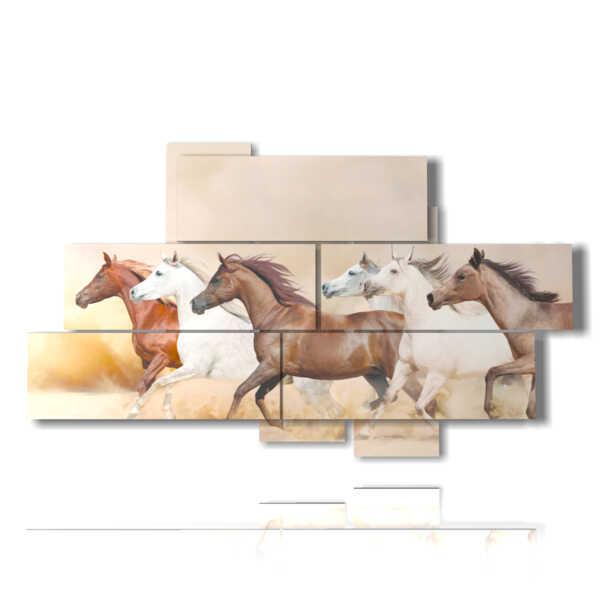 quadri cavalli al galoppo nel deserto