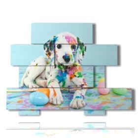 Tableaux modernes représentant des chiens dans un monde de couleurs