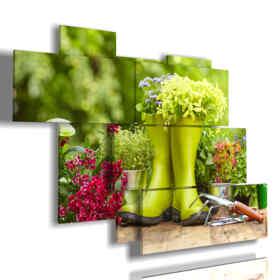 quadri moderni fiori e attrezzatura giardinaggio