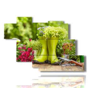 tableaux modernes fleurs et matériel de jardinage