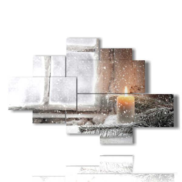quadro inverno con candela