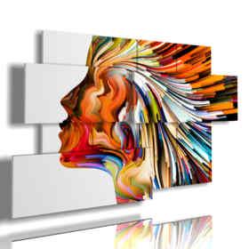 cuadros de colores perfil de la mujer abstracta