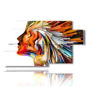 profil abstrait femme tableaux colorées