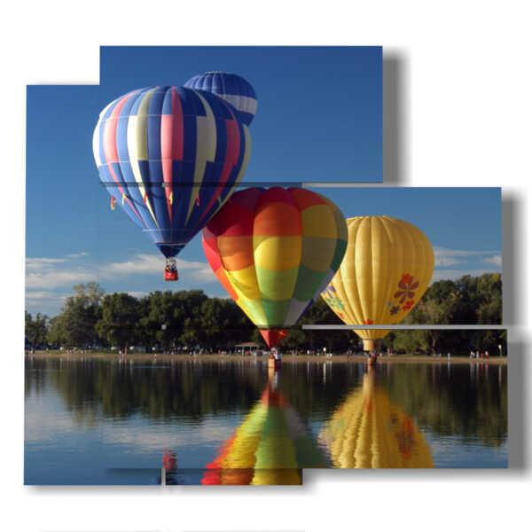 tableaux de ballons à air chaud flottant dans le lac