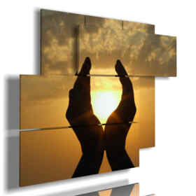 modern sunset with hands pictures
