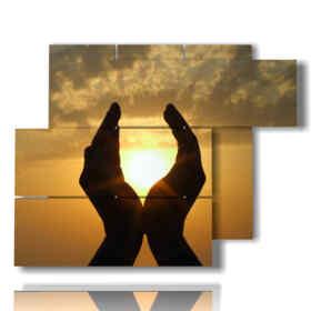 coucher du soleil moderne avec des tableaux mains