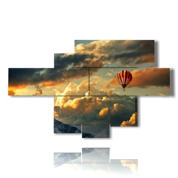 quadri con mongolfiera immersa nelle nuvole