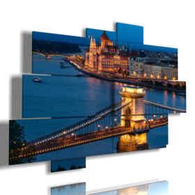 cuadro con la imagen Budapest en la noche