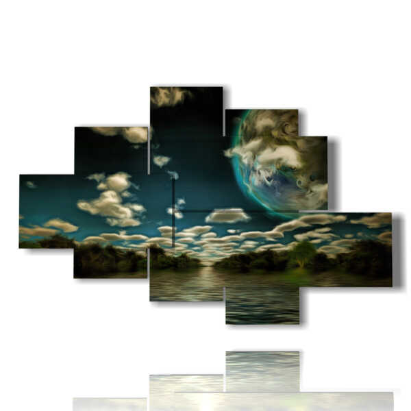quadri paesaggi fantasy e luna