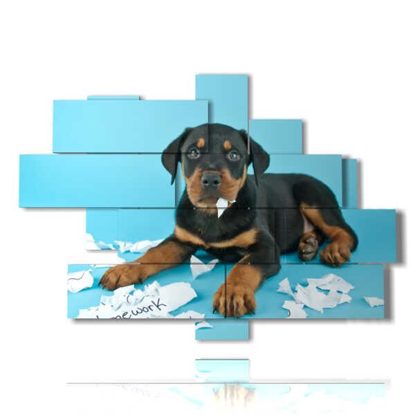 perro cuadro moderno jugando con el papel