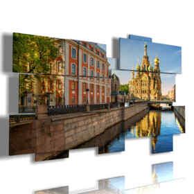 quadro con foto di Mosca oggi attraverso il corso del fiume