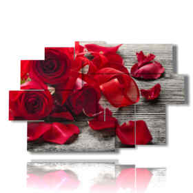 paintings of red roses and petals lying