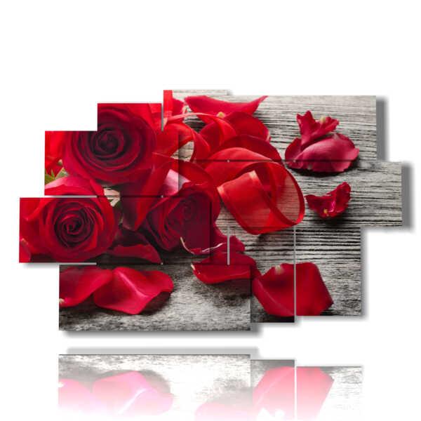 Bilder aus roten Rosen und Blütenblätter liegen