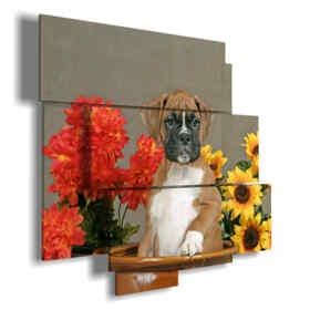 Hundeporträtmalerei der Blumen in einer Vase