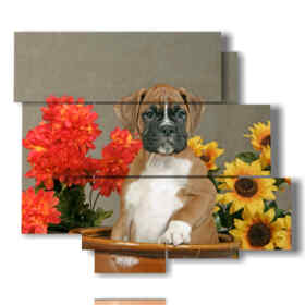 Modern picture dog portrait In a flower vase