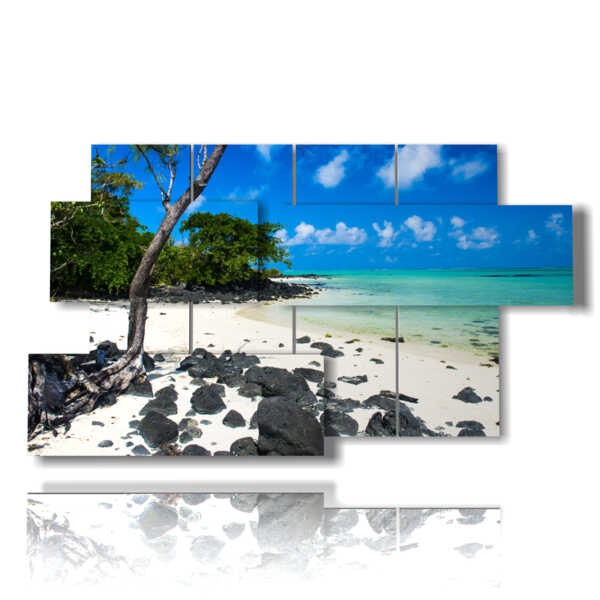 Modern paintings Mauritius sea scenery and the Enchanted Beach