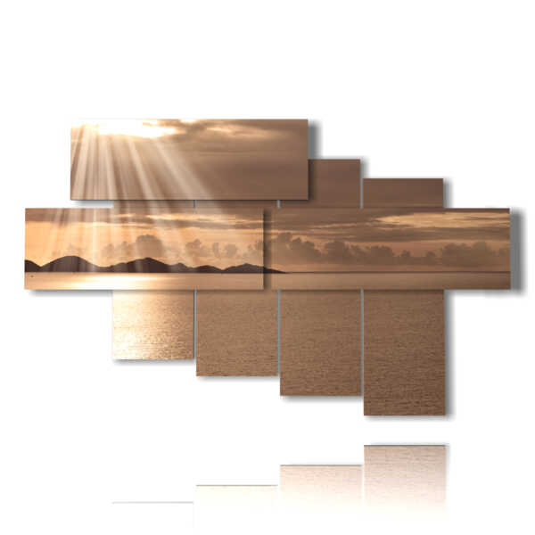 cuadros puestas de sol sobre el mar de oro
