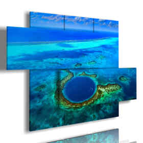 panel with painted blue sea and the abyss in the Caribbean Sea