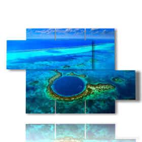 Panel con el mar azul pintado y el abismo en el Mar Caribe