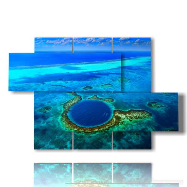 panneau avec une mer bleue peinte et l'abîme dans la mer des Caraïbes