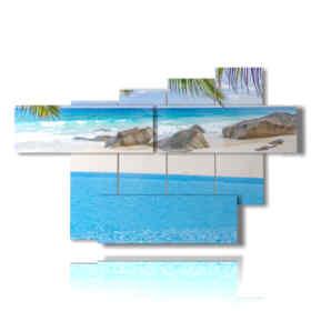Peinture moderne avec tableau à la mer Seycelles