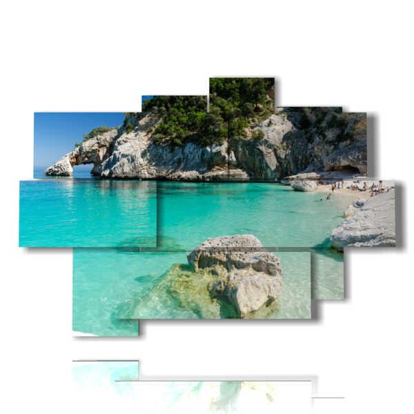 Modern paintings on the Sardinian sea between the rocks