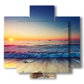 paintings in rough seas in a sunset dream