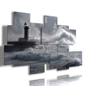 paintings stormy sea with lighthouse