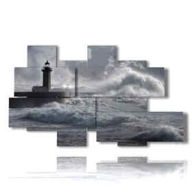 cuadros mar tempestuoso con el faro
