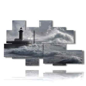 Modern paintings stormy sea with lighthouse