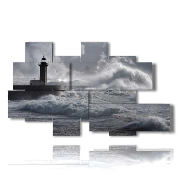quadri mare in tempesta con faro