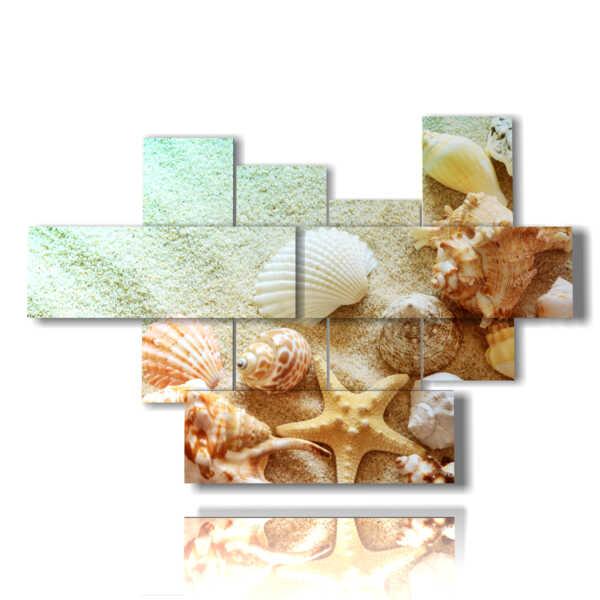 quadro con dipinto con paesaggio marino fatto di conchiglie