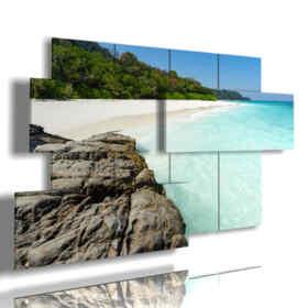 quadri mare moderni Paradiso tropicale bianco della spiaggia di sabbia di Koh Tachai, Tailandia
