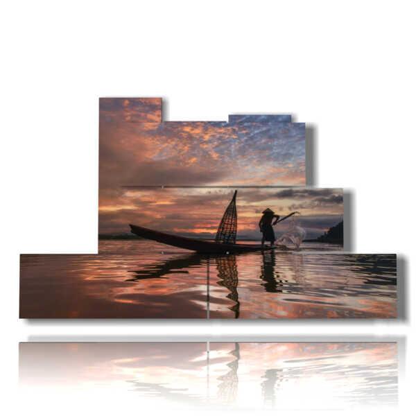 Bild mit abstrakten modernen Bildern des Fischers