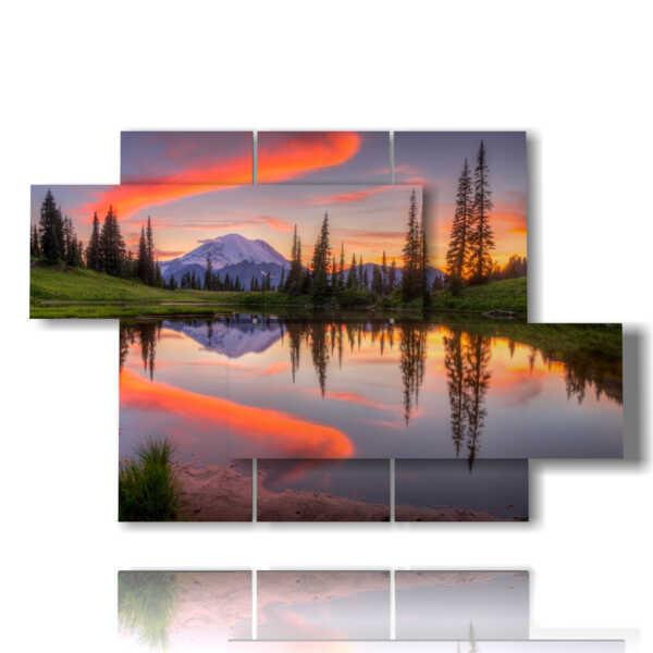 sentier lumineux aube image lac