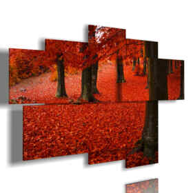 painting autumn red leaves