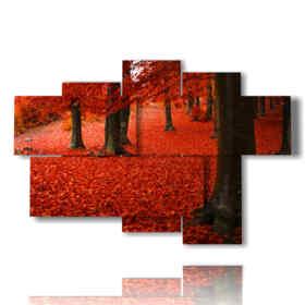 hojas rojas cuadro de otoño