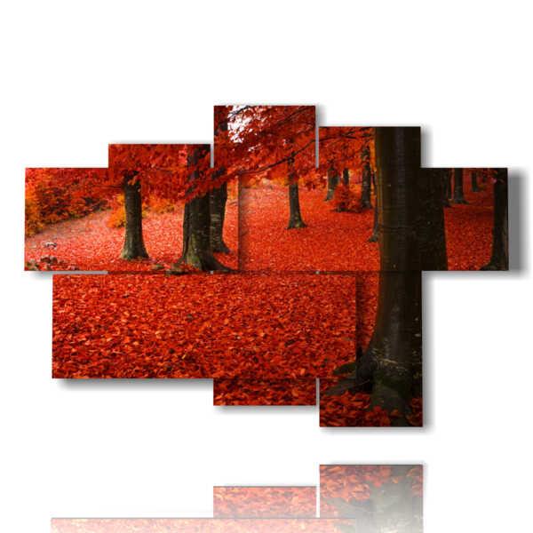 quadro autunnale foglie rosse