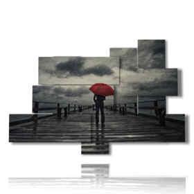 modern painting Red umbrella