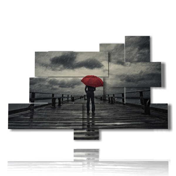 cuadros de la pared romántica en un muelle de lluvia solitaria
