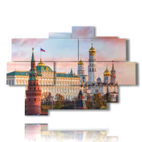 Modern picture with photo churches of Moscow