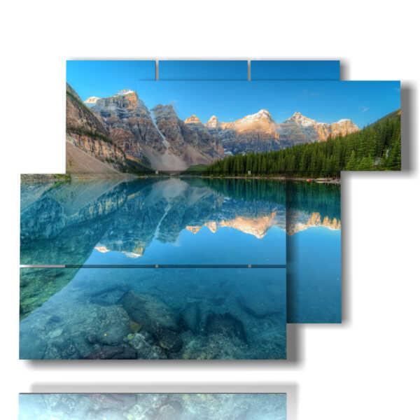 quadri con lago Mountain Lake baciato dai monti