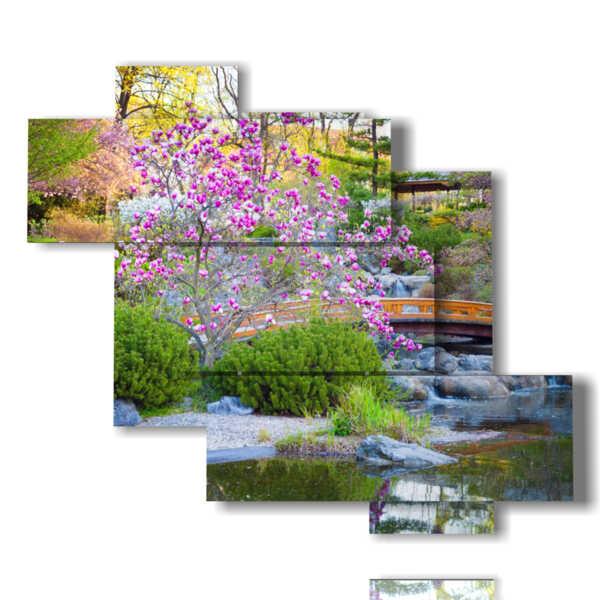 moderne Malerei Blumen in einer japanischen Landschaft