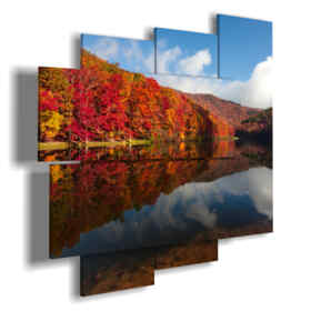 paintings autumn leaves reflected in the lake