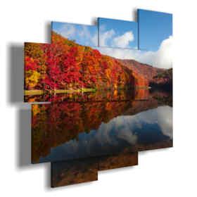 Bilder Herbstlaub im See spiegelt sich